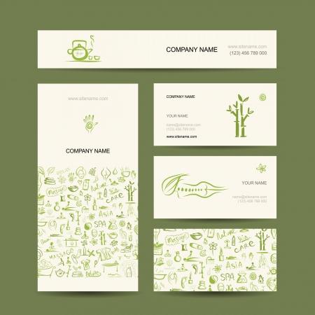 Business cards design, massage and spa concept Vector Illustration