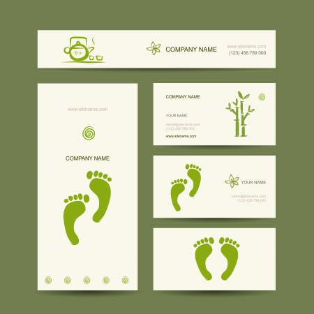 feet care: Business cards design, foot massage