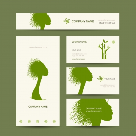 Business cards design, organic hair care concept Vector