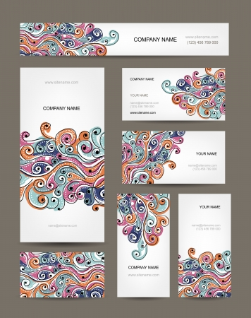 swirl border: Business cards collection, abstract waves design