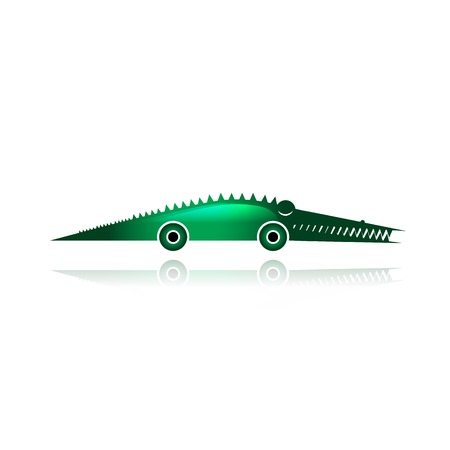 Funny toy crocodile with wheels for your design Vector