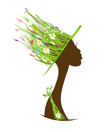 haircare: Organic hair care concept, female head with hat made from grass