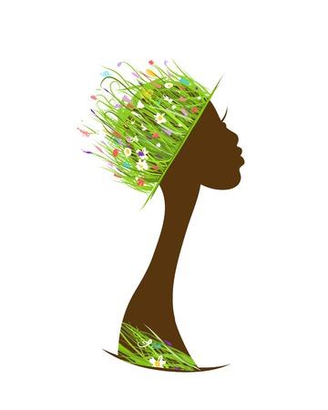 Biologische haarverzorging begrip, vrouwelijk hoofd met hoed gemaakt van gras Vector Illustratie
