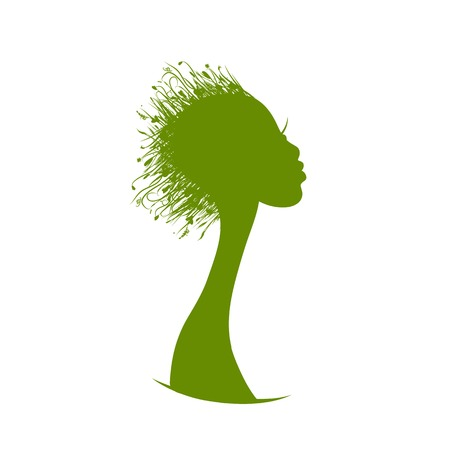 Organic hair care concept, grass on female head Vector