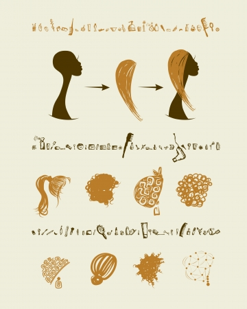 Female head and set of hairstyles for your design Vector