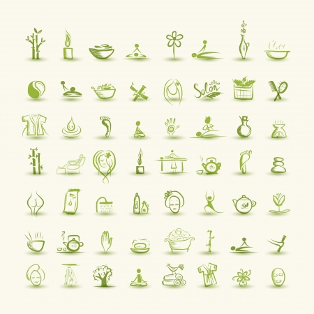 skin oil: Massage and spa, set of icons for your design