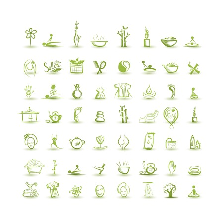 aroma therapy: Massage and spa, set of icons for your design