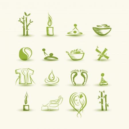 Massage und Spa, Reihe von Icons für Ihren Entwurf