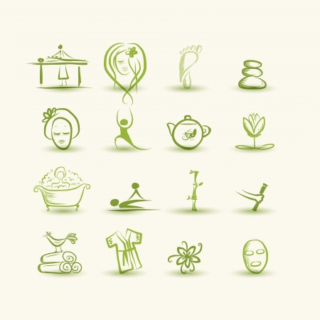 alternative rock: Massage and spa, set of icons for your design