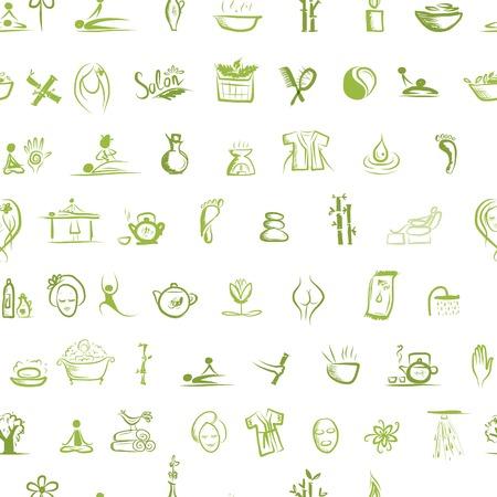 Masajes y spa concepto, patrón transparente para su diseño Ilustración de vector