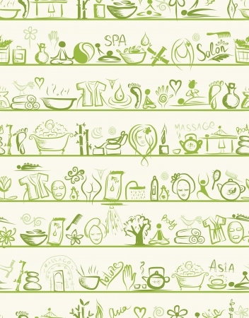 Massage and spa design elements on shelves, seamless pattern Vector