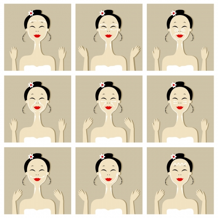 Face massage, illustration with asian woman for your design Vector