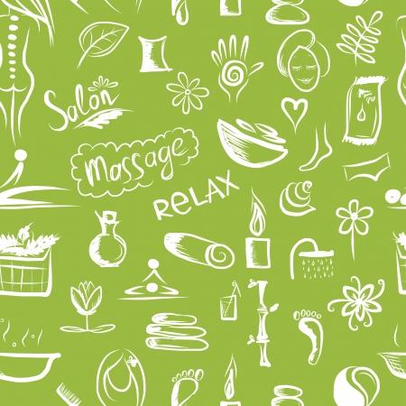 Massage-en spa-concept, naadloos patroon voor uw ontwerp Stock Illustratie