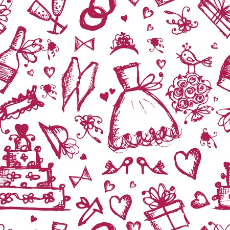 Seamless pattern with wedding design elements Vector