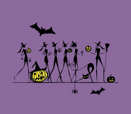 witch silhouette: Halloween holiday, young witches for your design