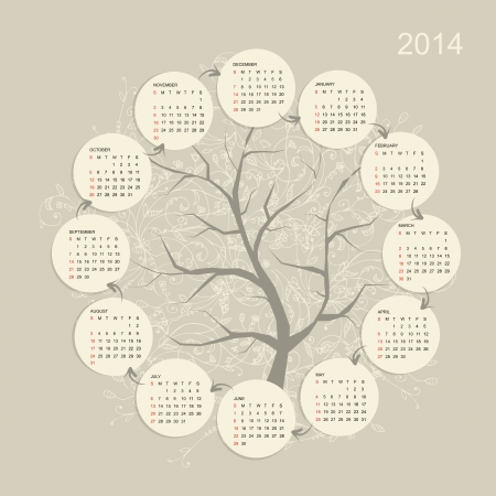 Calendar grid 2014 for your design Vector