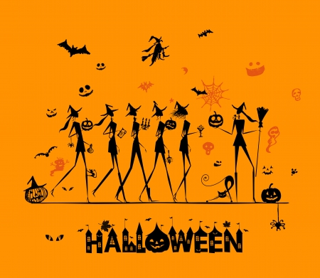 Halloween holiday, young witches for your design Vector