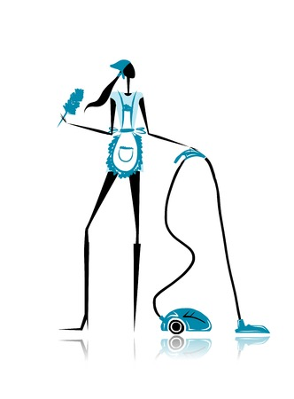 Girl maid with vacuum cleaner for your design Vector