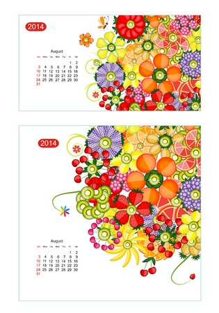 Floral calendar 2014, august. Design for two size of paper Vector