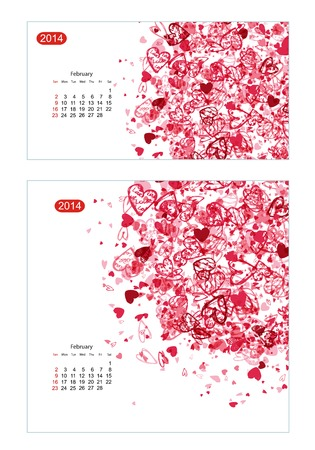 Floral calendar 2014, february. Design for two size of paper Vector