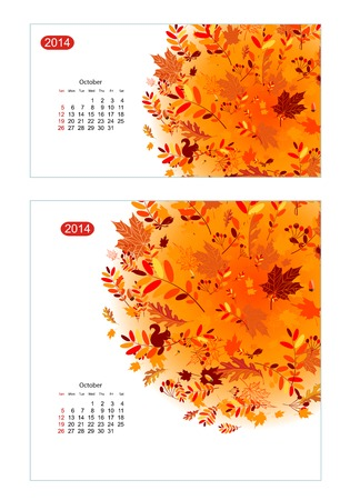 Floral calendar 2014, october. Design for two size of paper Vector