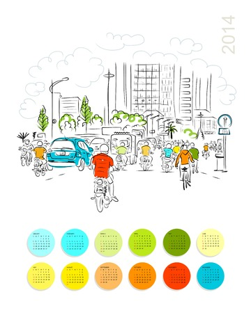 building planners: Calendar 2014. Sketch of traffic road in asian city with motorbikes