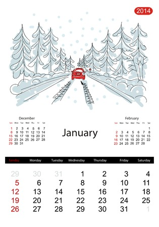 Calendar 2014, january. Streets of the city, sketch for your design Vector