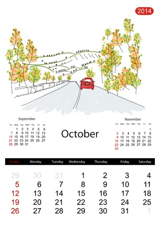 Calendar 2014, october. Streets of the city, sketch for your design Vector
