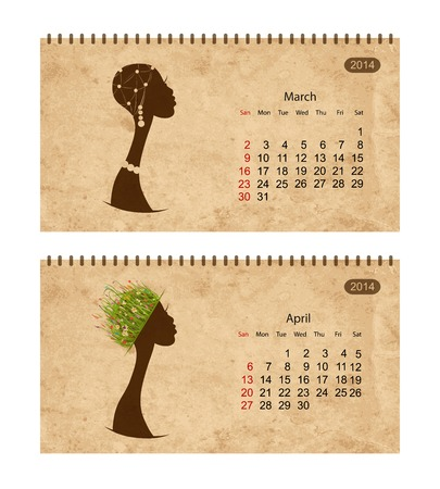 Calendar 2014 with female profile on grunge paper. March and april Vector