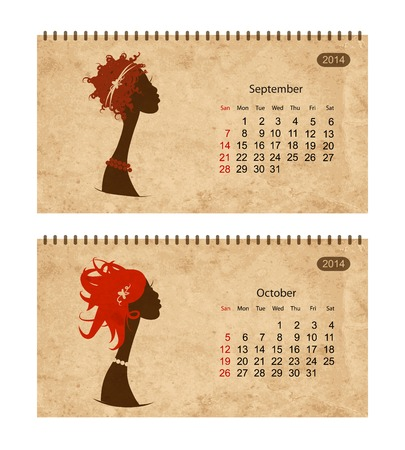 Calendar 2014 with female profile on grunge paper. September and october Vector