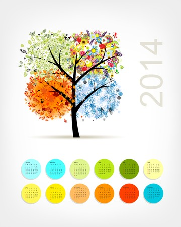 Calendar 2014 with four season tree for your design Vector