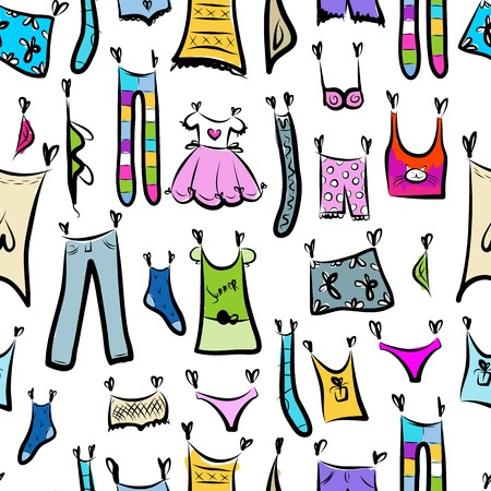 Clothes sketch, seamless pattern for your design Vector