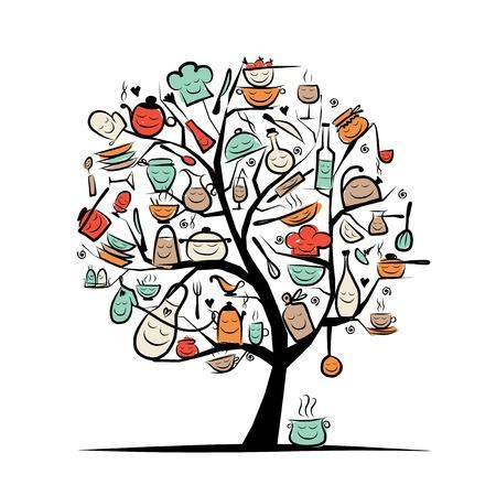 Art boom met keukengerei, schets tekening voor uw ontwerp