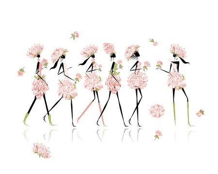 Chicas vestidas con trajes florales, partido de gallina para su diseño Foto de archivo - 22745764