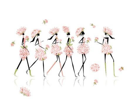 Girls dressed in floral costumes, hen party for your design