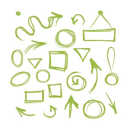 화살표와 프레임, 디자인을위한 스케치