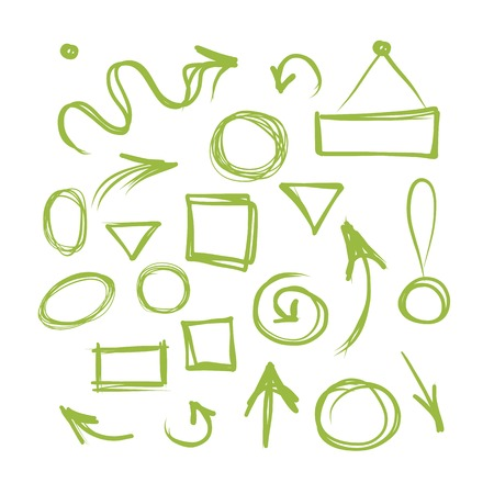 Arrows and frames, sketch for your design Vector