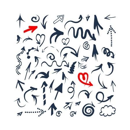 icone tonde: Arrows set di schizzo per la progettazione Vettoriali