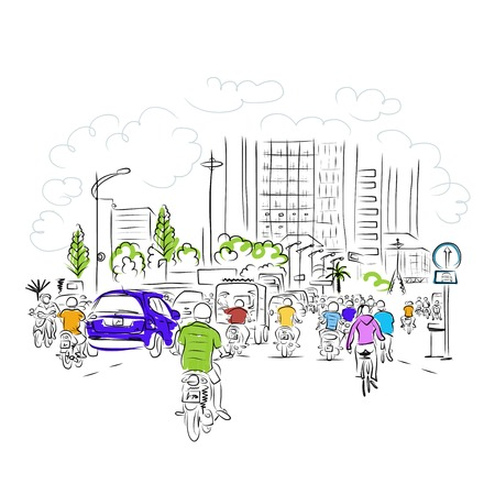 Sketch of traffic road in asian city with motorbikes for your design Illustration