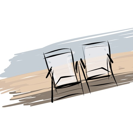Two deck chairs on the beach, sketch for your design Vector