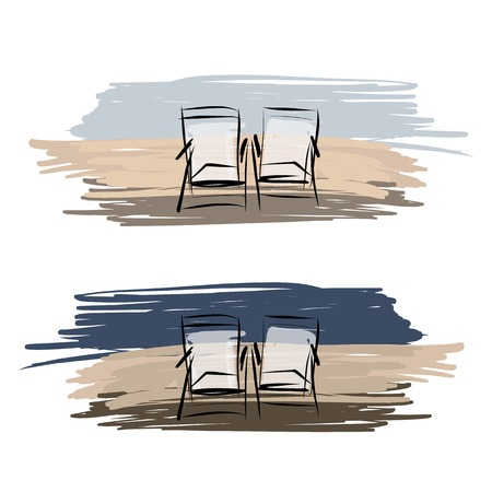 deck chairs: Two deck chairs on the beach, sketch for your design