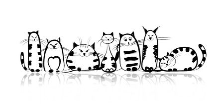 large group of animals: Funny cats family for your design
