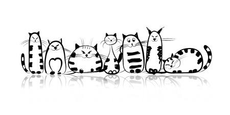 siluetas de animales: Gatos de la familia divertida para su dise�o