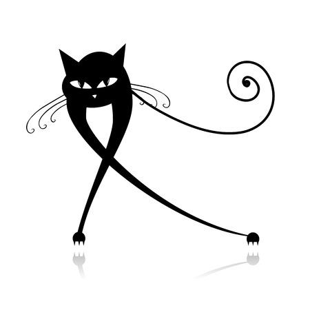 silueta gato negro: Silueta de gato negro para su dise?o