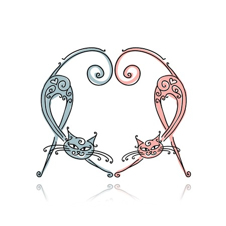 Couple of cats for your design Vector