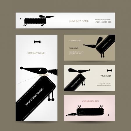 面白い犬とビジネス カードのデザイン  イラスト・ベクター素材