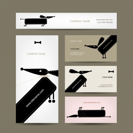 Business cards design with funny dogs