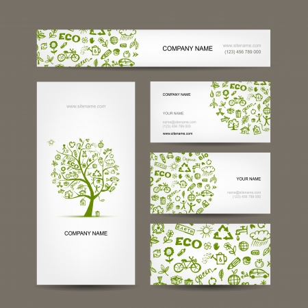 Business cards design, green ecology concept Vector