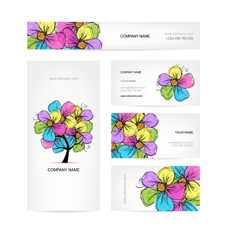 Business cards design with colorful floral tree Vector