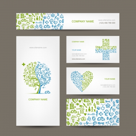 Business cards with medical objects for your design Vector